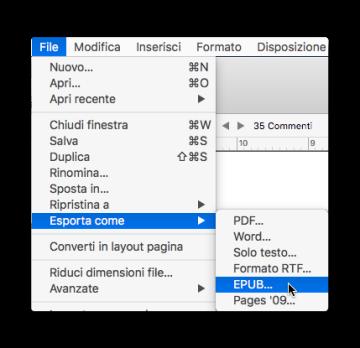 pages esporta come epub